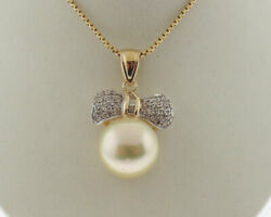 South Sea Pearl 13mm Diamonds Solid 14k Yellow Gold Bow Tie Pendant 18 Necklace