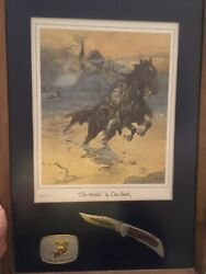 Smith And Wesson Knife And Belt Buckle Art Collectible