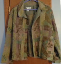 Coldwater Creek Tapestry Jacket Size L Greens Browns Plum Colored