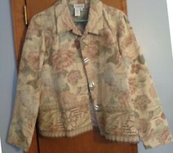 Coldwater Creek Tapestry Jacket Size L Light Beige Background green brown ros