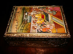 Amazing Antique Mughal Empire Sterling Silver And Hand-painted Ivory Betel Box