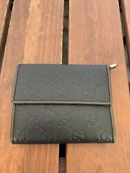 GUCCI Guccissima Wallet Black Leather and Dark Green Leather Trim Made in Italy  $250.00