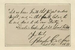 Schuyler Colfax Pens Quote From Abraham Lincoln's Cooper Institute Speech