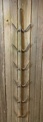 Antique 48 Hand Forged And Wrought Iron Hanging Butcher Shop Meat Rack W 12 Hooks