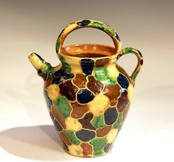 French Provence Antique Country Pottery Isere Signed Vase Confit Pot Jug