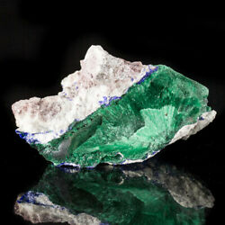 1.9 Radiating Green Acicular Malachite Crystals With Azurite Milpillas For Sale