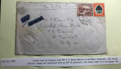 1941 South Africa Army In Egypt Censored Airmail Cover To Tissenin Transvaal