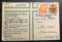 1941 South Africa Army Post Office In Egypt Oas Censored Cover To Natal