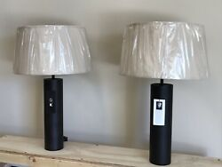 One Pair Of George Kovacs Touche Table Lamps Antique Bronze Finish Linen Shade