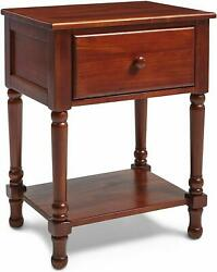 Cherry Finish Solid Wood Nightstand Bedside Table Drawer End Side Storage Shelf