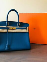 Brand New Authentic Hermes Birkin 35 Bleu Agate with Gold Hardware