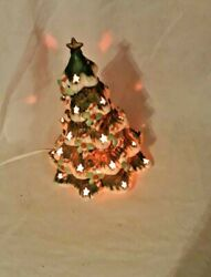 Christmas Tree Ceramic Lit See Thru With Candy Cane Vintage Table Top