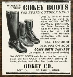 1958 Gokey Boots St Paul Mn Print Ad Botte Sauvage Regular And Snake-proof Models