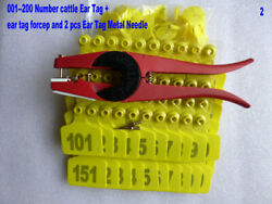 001--200 Number Yellow Cattle Ear Tags + 1pcs Ear Tag Forcep
