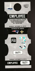2013 New England Patriots Miami Dolphins Employee Parking Pass