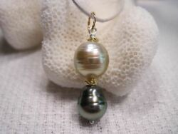 Pistachio And Grey Tahitian Pearl Pendant 14k Solid Gold