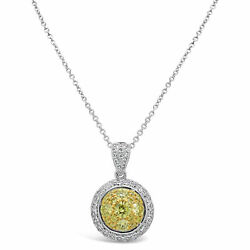18k Two-tone Gold 1/2ct Tdw White And Fancy Yellow Round Pendant Necklace