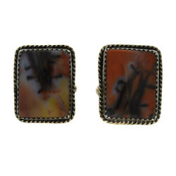 Navajo Petrified Wood And Silver Cufflinks By Julius Or Tom Ahasteen C. 1950s