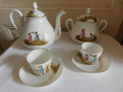 Coffee Service Decor Painted Dand039 Kids Playing To La Farm Porcelain From Paris