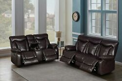Brown Padded Power Faux Leather Reclining Sofa Loveseat Livingroom Furniture Set