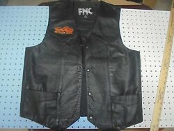 Men's Black Leather Motorcycle Biker Vest FMC Size 42 with  Patches