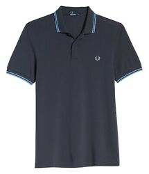 Fred Perry Men#x27;s Short Sleeve M3600 Twin Tipped Polo Shirt Graphite Sky Sky $69.12