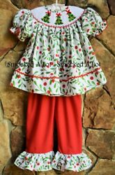 Smocked A Lot Girls Christmas Tree Holly Berry Red Green Pants Set Outfit Santa