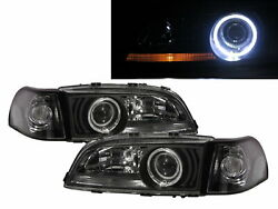 V70/xc70 96-00 Guide Led Halo Projector W/corner Lamp Headlight Bk For Volvo Lhd