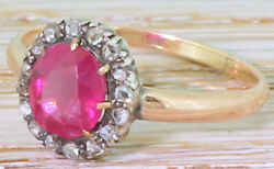 1.30ct Rose Cut Diamond Ruby Antique Victorian Look 925 Silver Cocktail Ring