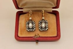 PERFECT 14K GOLD DIAMOND AND ROSE CUT DIAMOND DECORATED RUSSIAN STYLE  EARRING
