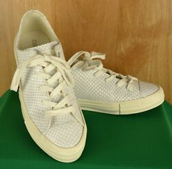 Converse Chuck Taylor All Star Gemma Leather Snakeskin Shoes White Mouse Size 8