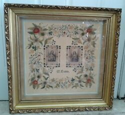 Amazing Rare Large Antique 1884 Sampler Sacred And Holy Heart Of Jesus And Mary