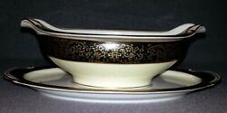 Wako China 1402 Gold On Black Border - Gravy Boat With Attached Under Plate