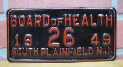 1949 Board Of Health South Plainfield New Jersey Embossed Metal Plate Tag Sign
