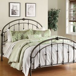 Antique Metal Queen Panel Bed Frame Iron Arched Headboard And Footboard Vintage