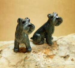 Kerry Blue Terrier Couple Ceramic Figurine Handmade Dogs Statue Collectible set