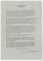 Eleanor Roosevelt Letter Signed Re Universal Military Training And Voting Rights