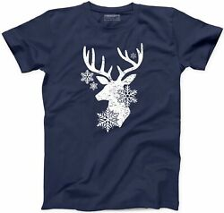 Deer And Snow Flakes T-Shirt Christmas Funny Snowy Winter Xmas Gift S-3XL