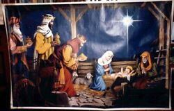 Early Huge...religious Lithograph Christmas