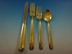 Rambler Rose Gold By Towle Sterling Silver Flatware Set Service For 6 Vermeil
