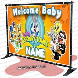 Baby Shower Looney Tunes Personalized Banner Backdrop Party Decoration