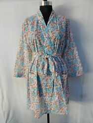 Gypsy Block Printed Robe Cotton Intimates Wedding Sleepwear Crossover Kimono 169