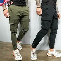 Men's Causal Harems Pants Joggers Gym Jogging Elastic Sweatpants Cargo Trousers