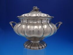 Peruvian 800 Silver Fluted Covered Casserole Dish With Cabbage Finial 4220