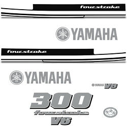 Yamaha 300 Four Stroke Die Cut Decals Outboard Engine Graphics Motor 300hp White