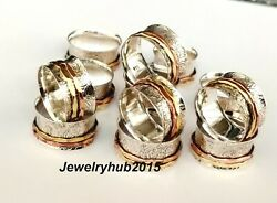 Wholesale 100 Pes Lots Solid 925 Sterling Silver Ring Spinner Ring All Size sr26