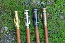 Vintage Walking Stick With Inbuilt Brass Telescope Wooden Cane With Spyglass 4