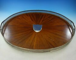 Victorian English Silver Gallery Tray With Wood Base And Pierced Border 4245