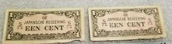 Ww2 Japanese Invasion Currency Een Cent Stamp Over Development Banknotes Writing