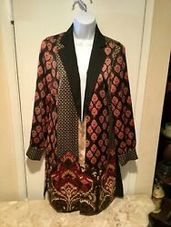 Chicos Damask Printed Open Front Multi Color Jacket Size 0 Nwt 139